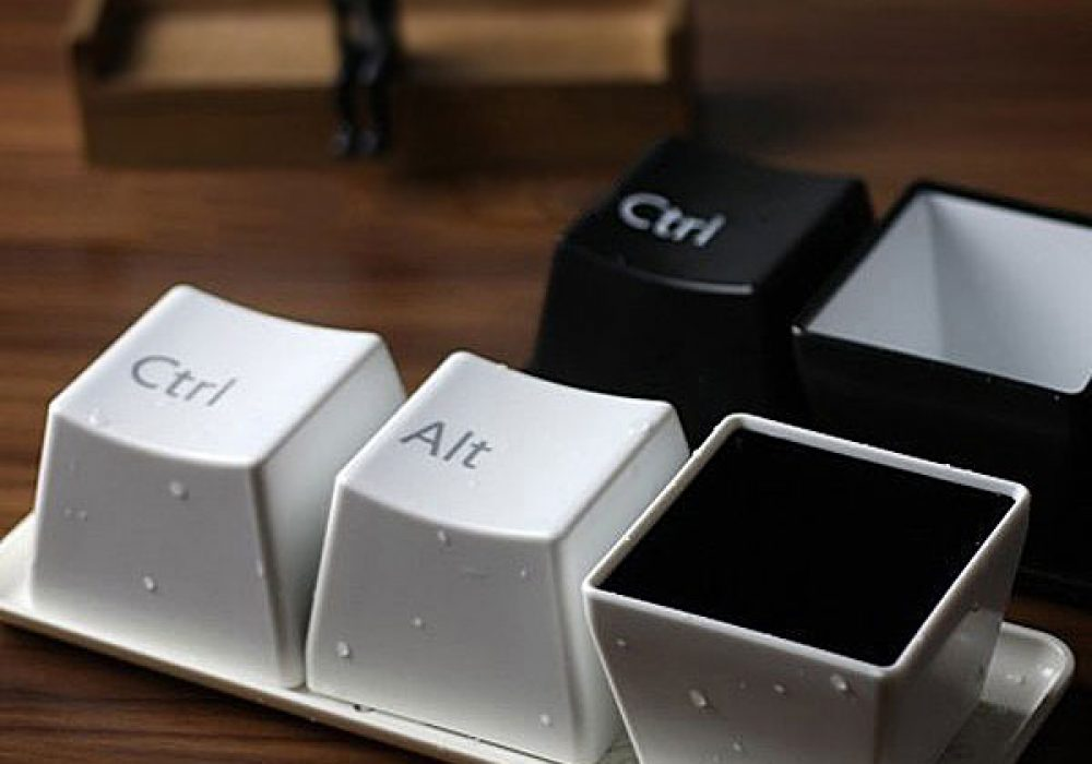 Ctrl-Alt-Delete Cup Set Cute Coffee or Tea for Computer Geeks