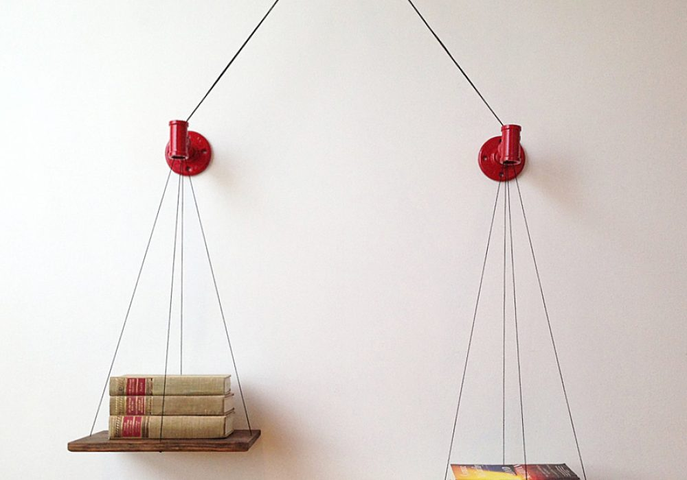 Cush Design Studio Red Balance Bookshelf Hand Made to Order