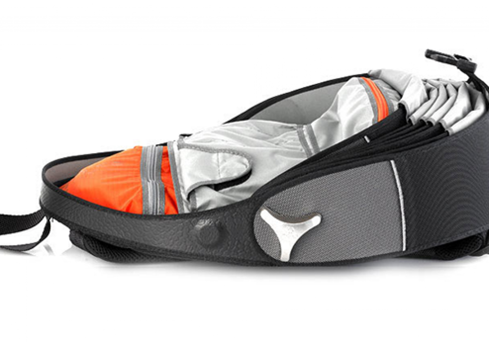 Cyclus Pangolin Backpack made of reused tyre inner tubes Fully Opened Orange Interior