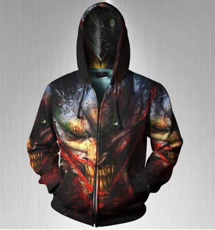Men Hoodies DC The Joker Comic Book Arkham Asylum Zipper