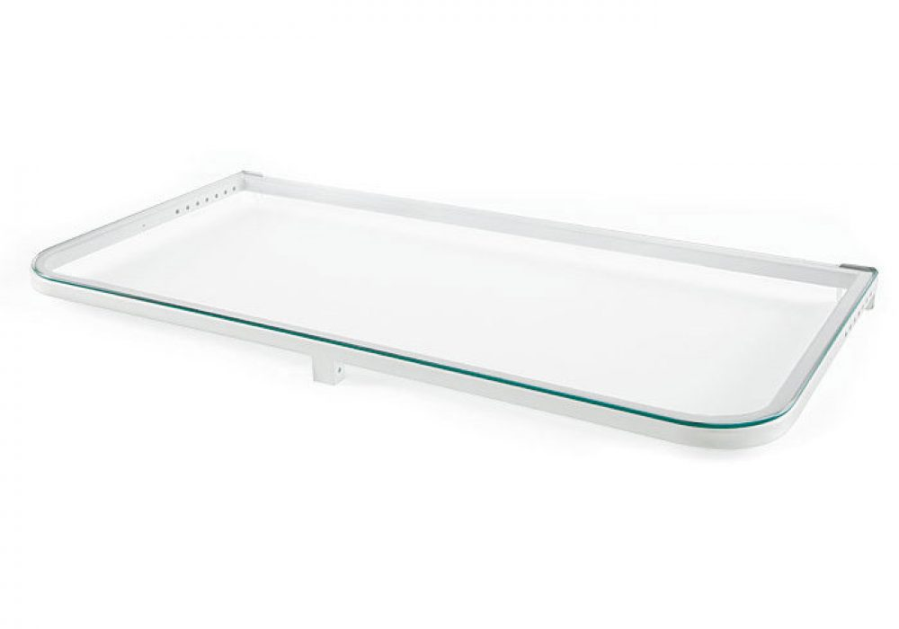 DeckMATE-Rail-Tray-White-Metal-Frame- Tempered Glass