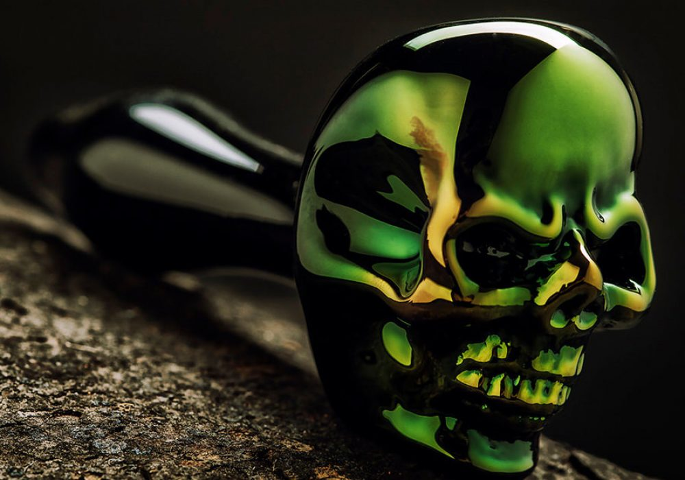 Elevator Glassworks Sick Skull Pipe Green