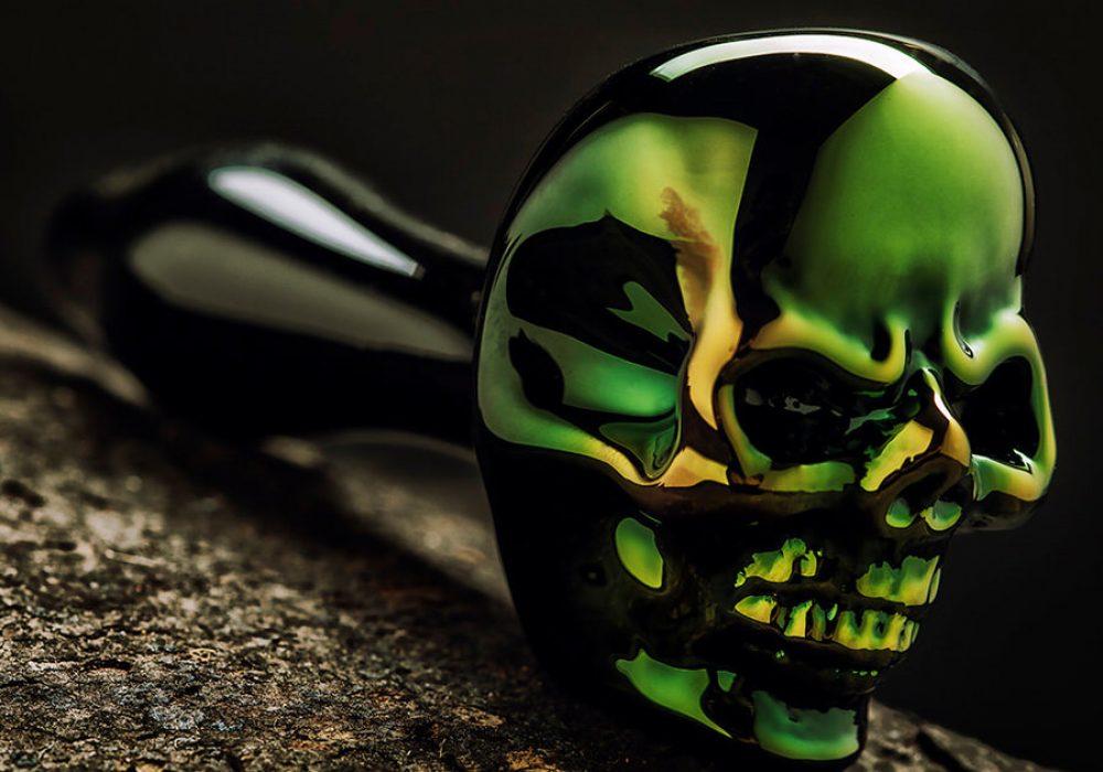 Elevator Glassworks Sick Skull Pipe Green
