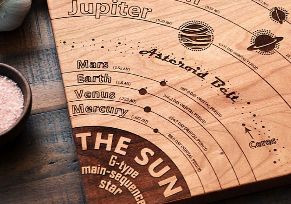Elysium Woodworks Solar System Diagram Cutting Board Cool Geeky Kitchen Tool
