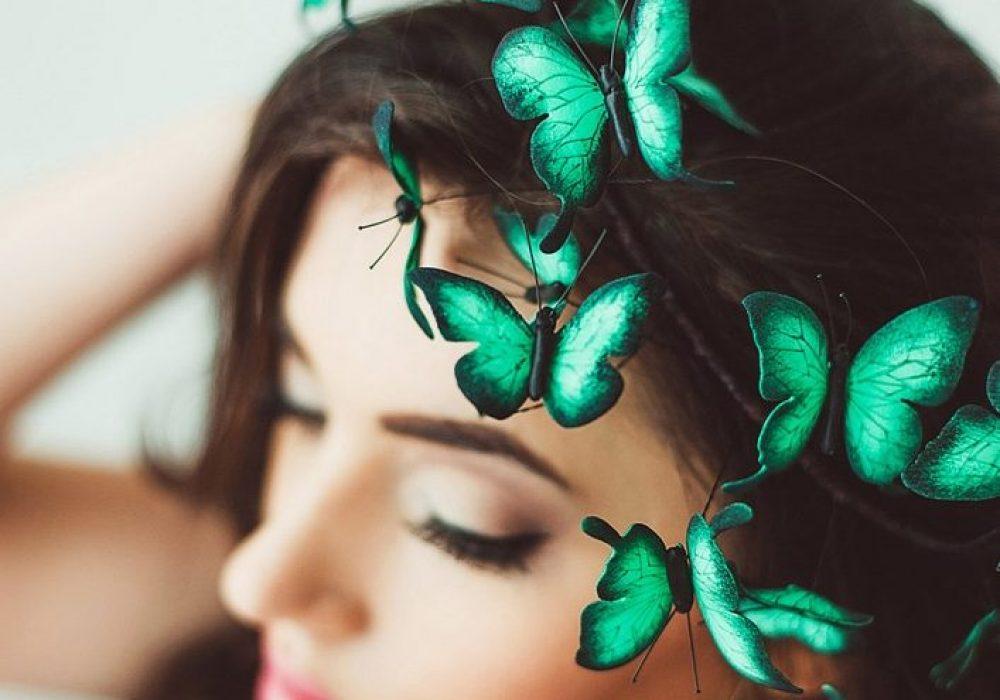 Eten Iren Turquoise Wedding Butterflies Crown Gift Idea for Bride
