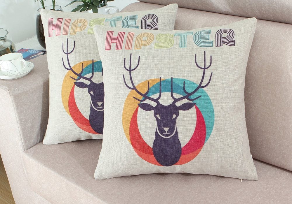 Euphoria Hipster Retro Style Deer Head Pillow Covers Unique Gift to Buy