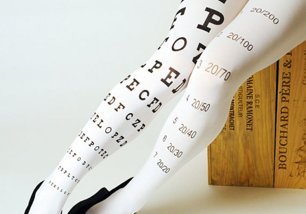 Eye Exam Chart Tights  White Side Sit