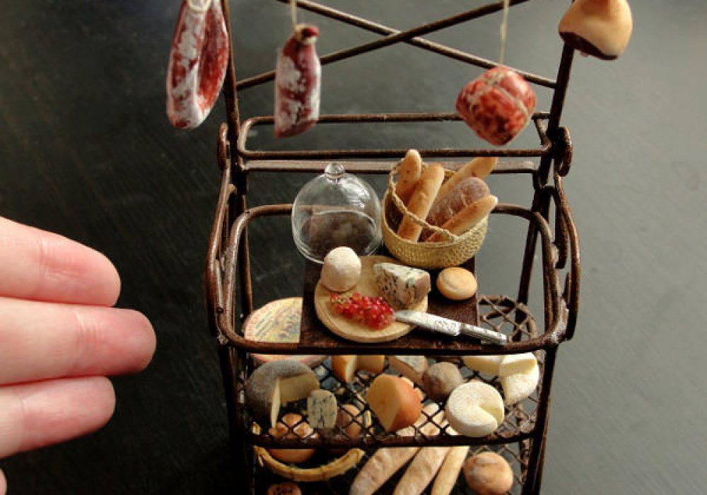Fairchildart Dollhouse Miniature Food Bakers Rack Gift for Daugther