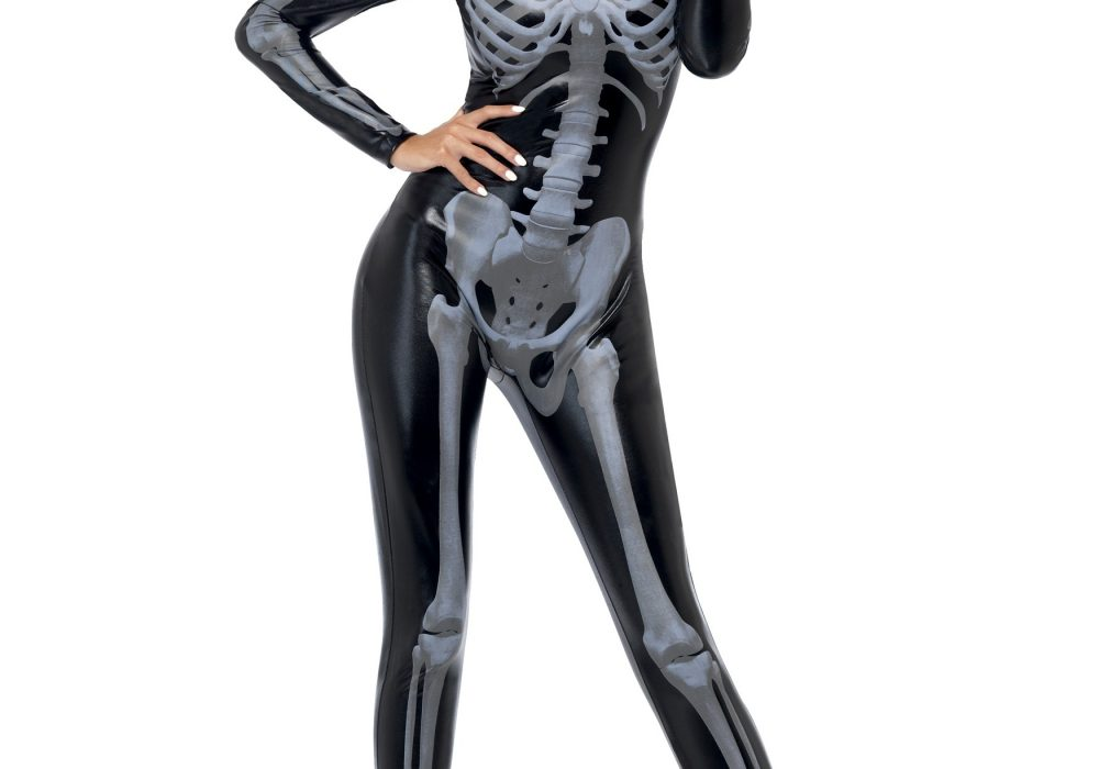 Fever Womens Skeleton Costume Catsuit with Cap Sleeves Sexy Cosplay