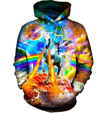 Men Hoodies & Sweatshirts Fire Unicorn