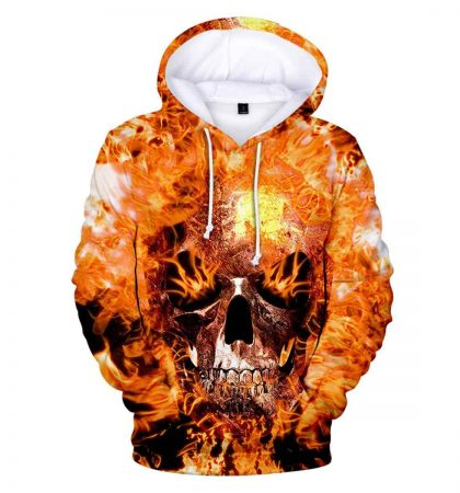 Men Hoodies Flaming Skull Sweatshirt