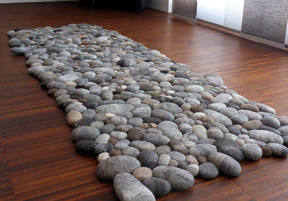 Fluss Design Felt Stone Carpet Hand Felted