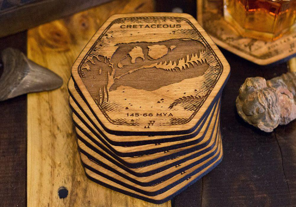 Fringe Focus Dinosaur Fossil Coasters Polygon Shaped