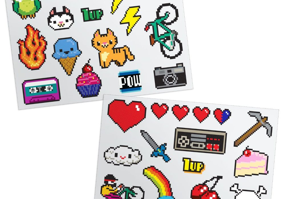 GAMAGO 8-Bit Temporary Tattoos Pixel Themed Artworks