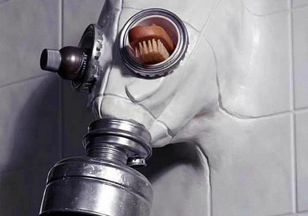Gas Mask Shower Head by Chris Dimino Creepy Artwork Online