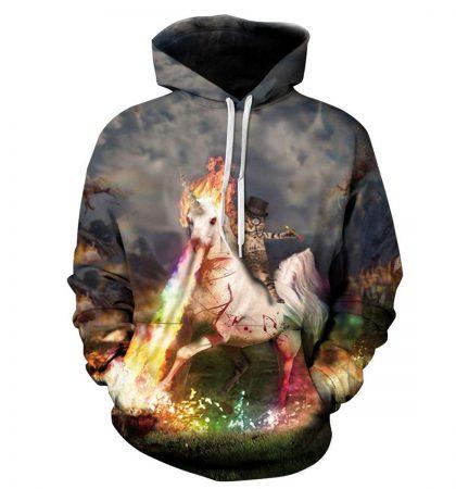 Men Hoodies & Sweatshirts Gentleman Cat Riding Scary Unicorn
