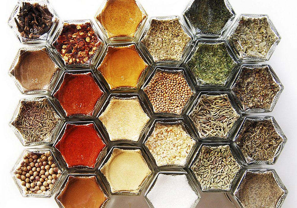 GneissSpice Hexagon Glass Spice Jars Storage