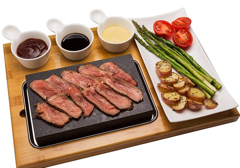 Good Cooking Tabletop Cooking Stone Bamboo Platter