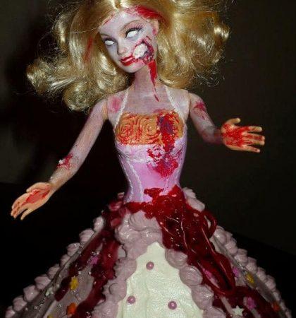 Halloween Zombie Barbie Cake