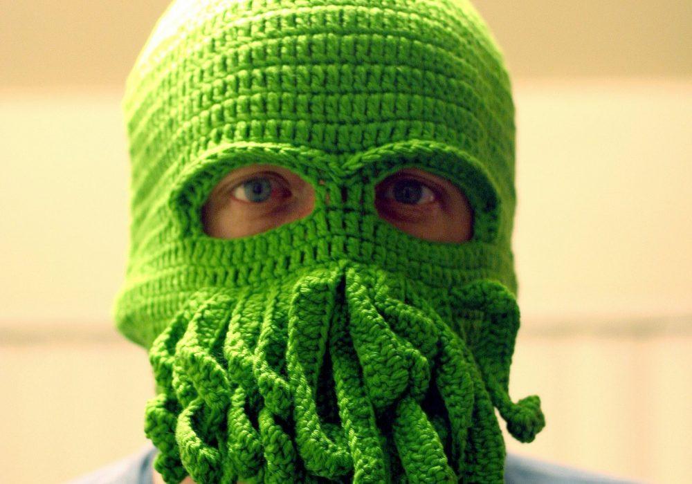 Handmade Cthulhu Ski Mask Weird Green Tentacle Novelty Item