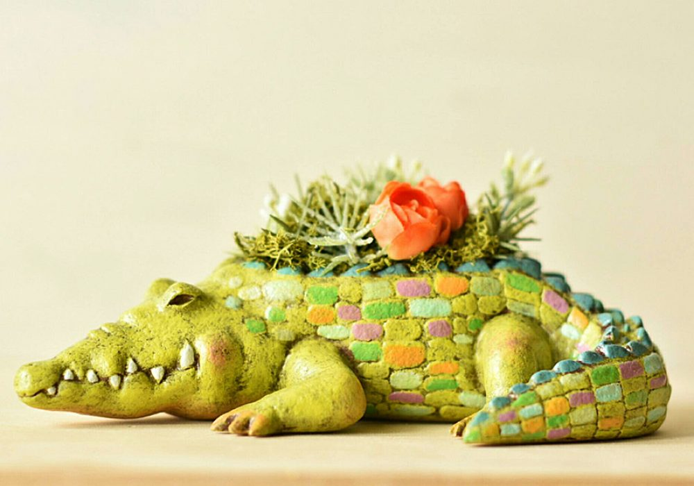 Harimogura Crocodile Planter Decoration