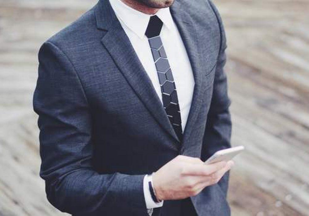 Hextie Honeycomb Space Black Tie Fashion Accesory for Men