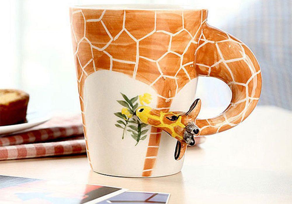Homee Hand Painted Giraffe Mug Cute Gift for Her Office