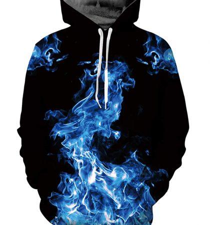 Men Hoodies & Sweatshirts Blue Fire