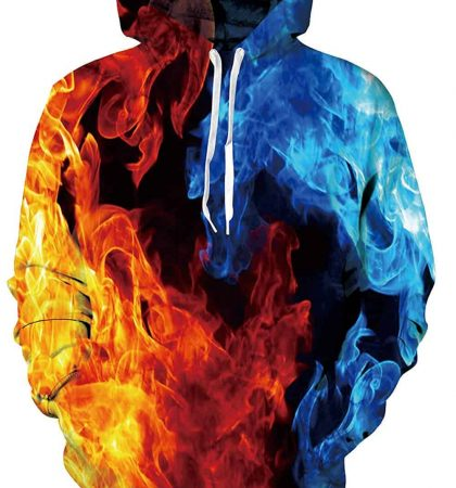 Men Hoodies & Sweatshirts Blue and Red Fire
