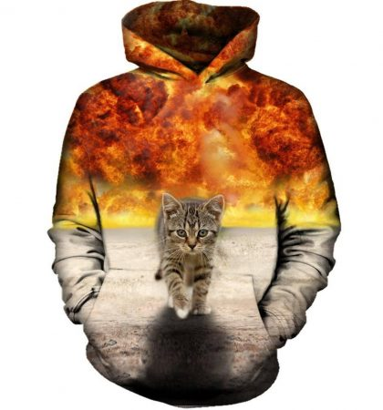 Men Hoodies & Sweatshirts Cat Walking From Explosion