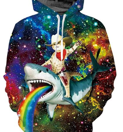 Men Hoodies & Sweatshirts Cowboy Cat Riding Shark