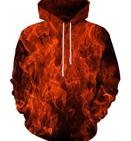 Men Hoodies & Sweatshirts Red Flame