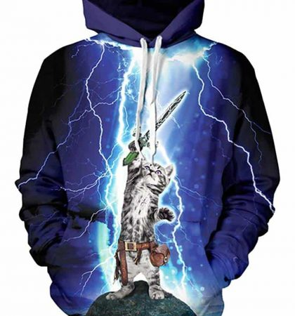 Men Hoodies & Sweatshirts Sword Lightning Kitten
