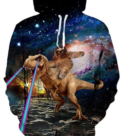 Men Hoodies & Sweatshirts Tyrannosaurus Rex Laser Eyes Sloth