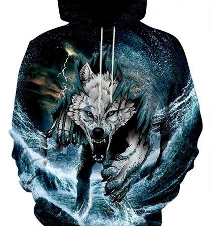 Men Hoodies & Sweatshirts White Wolf Angry