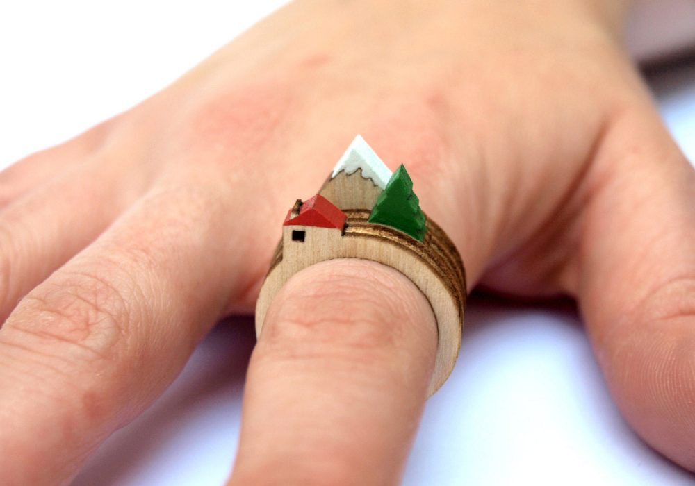 House, Tree and Mountain Ring by Clive Roddy Cool Fashion Accessory to Buy