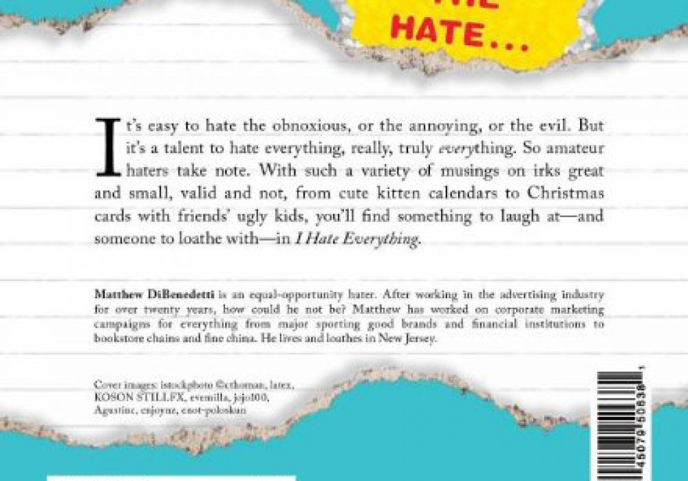 I Hate Everything Book Back Cover Spread the Hate