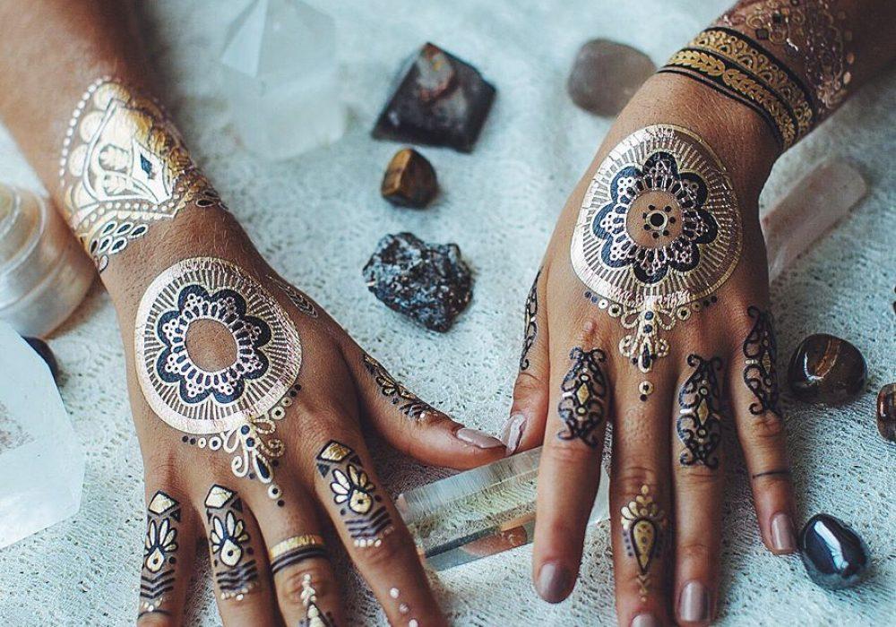Iamu Collective Premium Metallic Henna Tattoos Cool Body Paint