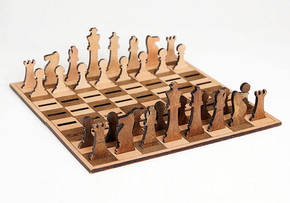 Ilem Leather Goods Flat Wooden Minimalist Chess Set Cool Board Game