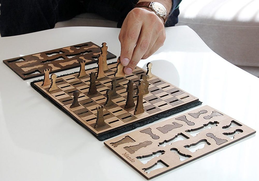 Ilem Leather Goods Flat Wooden Minimalist Chess Set Gift Idea