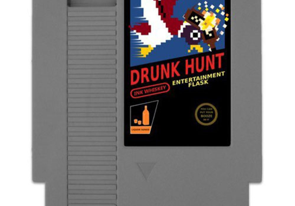 Ink Whiskey Drunk Hunt Concealable Entertainment Flask Nintendo Gag