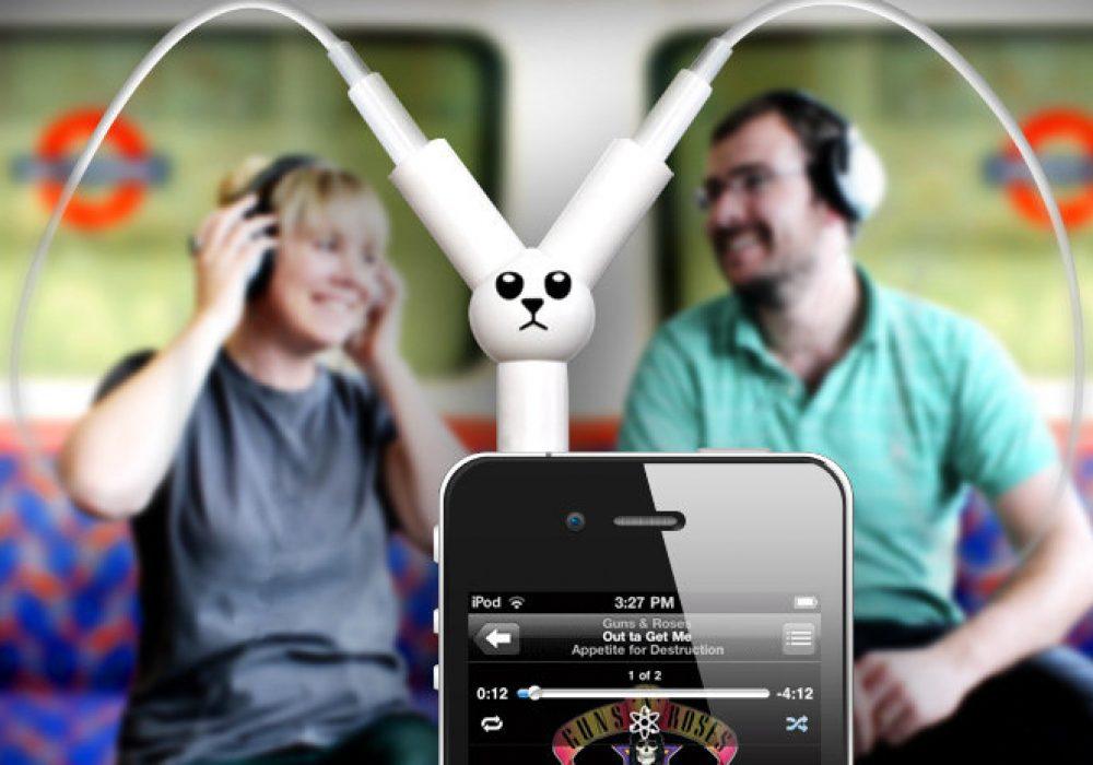 Jack Rabbit Headphone Splitter Listen to iPhone Together Techie Gift Idea