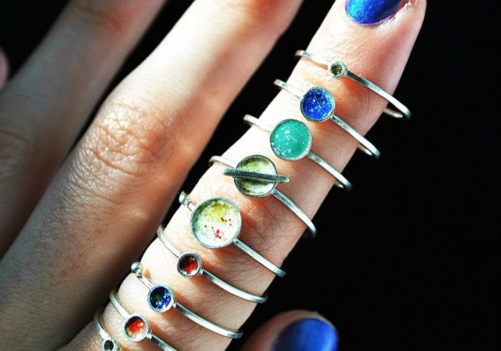 Jewelry Three Snails Planet Rings Gift Idea For Her
