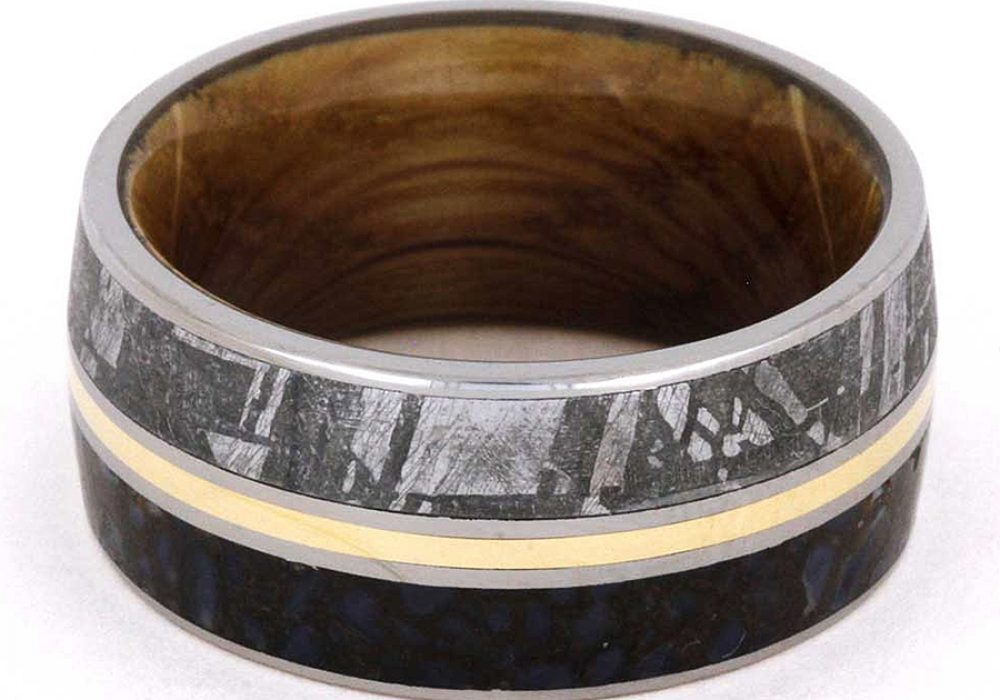 Jewelry by Johan Meteorite and Dinosaur Bone Wedding Ring Handmade Product