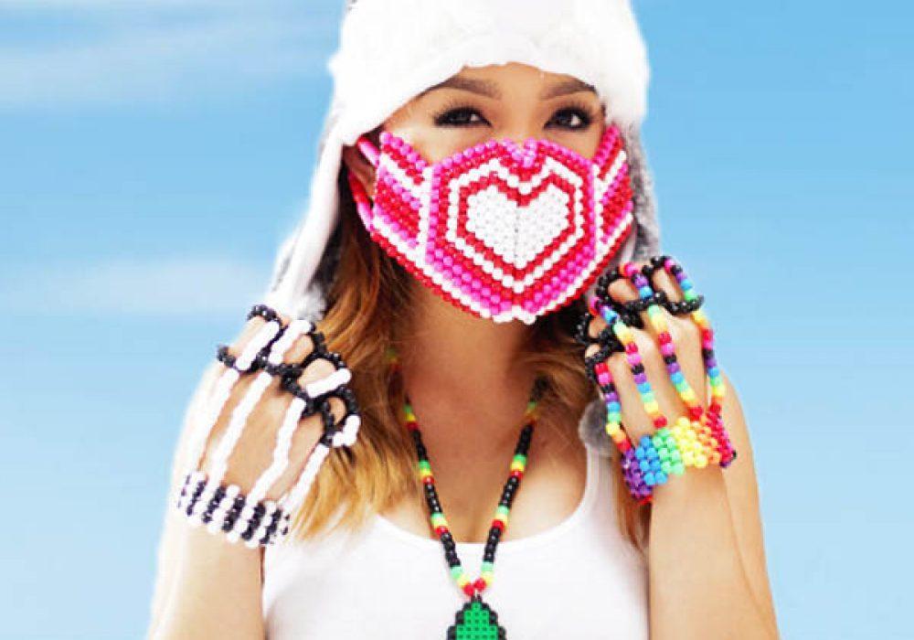 Kandi Gear Pink Hearts Kandi Mask Cool Rave Get Up