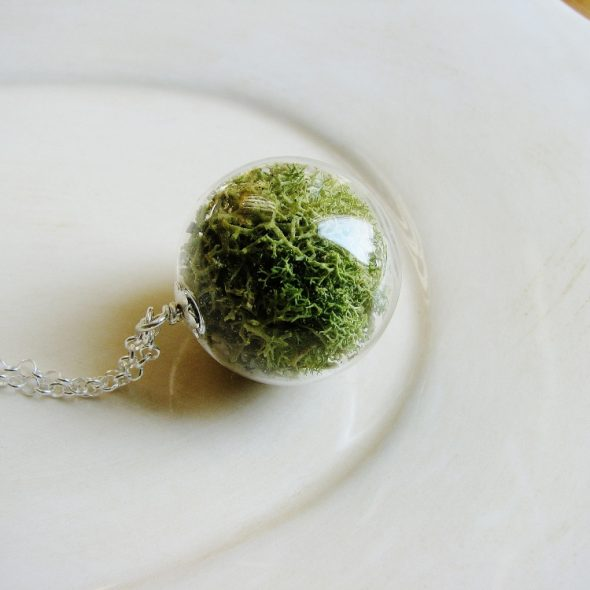 KateeMarie Green Lichen Necklace