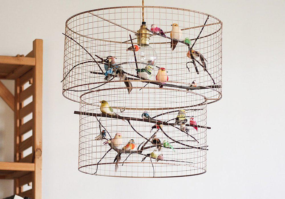 Kekoni Copper Double Birdcage Pendant Light Chandelier Handmade Products
