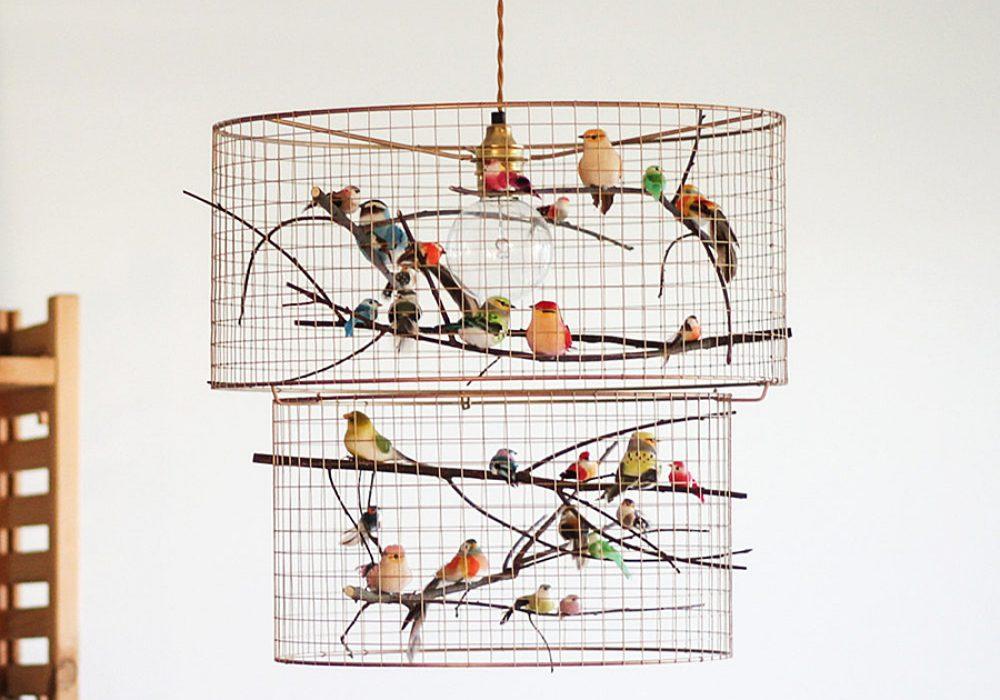 Kekoni Copper Double Birdcage Pendant Light Chandelier Lighting