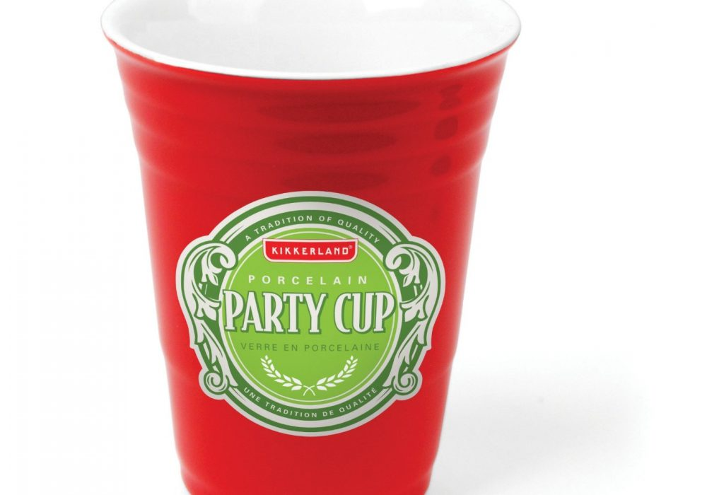 Kikkerland Porcelain Party Cup Green Sticker Cool Gift