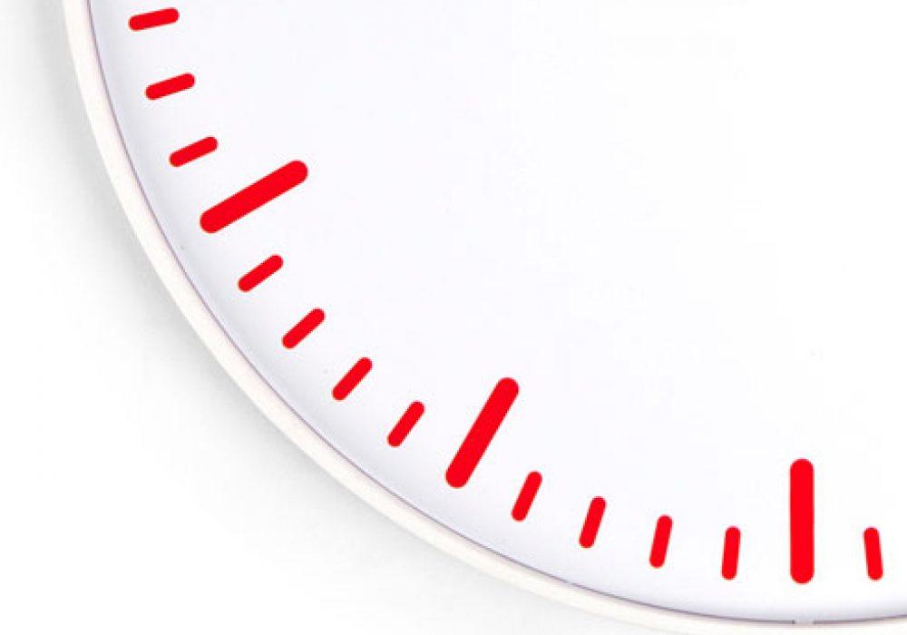 Kikkerland Swiss Station Ultra Flat Wall Clock Minutes Whte and Red